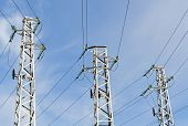 stock photo of power transmission lines  - Three steel high - JPG