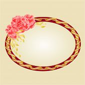 picture of oval  - Oval frame with pink hibiscus greeting card festive background place for text vector illustration - JPG