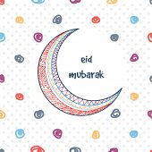 picture of crescent  - Beautiful floral design decorated crescent moon on stylish background for famous Islamic festival - JPG