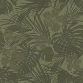stock photo of camouflage  - Summer camouflage hawaiian seamless pattern with tropical plants and hibiscus flowers - JPG