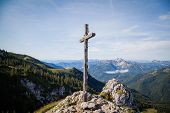 picture of bavarian alps  - Summit cross in the Bavarian Alps near Lake Schliersee