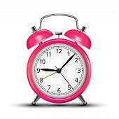 picture of analog clock  - Vector Alarm Clock Classic Pink Colored Design - JPG
