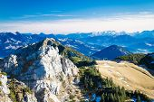 picture of bavarian alps  - View from Wendelstein into the Bavarian and Austrian Alps - JPG