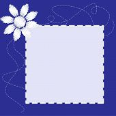 pic of stitches  - The square blue frame with embroidered flower and stitching - JPG