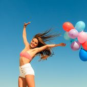 pic of hair blowing  - Summer holidays celebration and happiness concept  - JPG