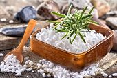 image of salt-bowl  - salt bath in wooden bowl with rosemary - JPG