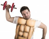 picture of ironic  - Ironic fat man does gym with abs - JPG