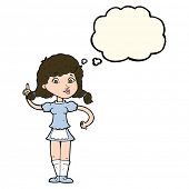 stock photo of maids  - cartoon pretty maid woman with thought bubble - JPG