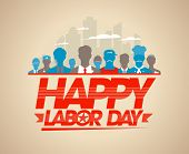 picture of labor  - Happy labor day card with silhouettes of different workers - JPG