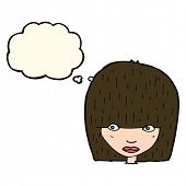 pic of stare  - cartoon staring woman with thought bubble - JPG