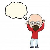pic of bald man  - cartoon stressed bald man with thought bubble - JPG
