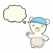 image of crazy hat  - cartoon polar bear wearing hat with thought bubble - JPG