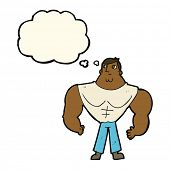 stock photo of muscle builder  - cartoon body builder with thought bubble - JPG