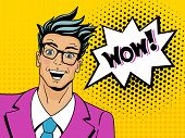 Wow Pop Art Man. Young Surprised Man In Glasses With Open Mouth. Vector Illustration In Retro Comic poster