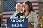 O'FALLON - AUGUST 31: Saran Palin speaks as Senator McCain looks on at an appearance in O'Fallon nea