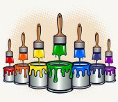 picture of paint brush  - Cans of paint with brushes dripping down paints  - JPG