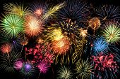 pic of brighten  - Fireworks of different colors brighten the night sky - JPG