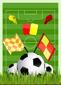 soccer field with ball cards offside flag and whiste