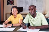 stock photo of students classroom  - two african american students in classroom - JPG