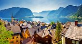 Great views of the lake and Hallstatter and Hallstatt Lutheran Church. Picturesque and gorgeous scen poster