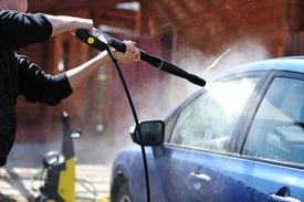 pic of car wash  - Blue car washing on open air - JPG