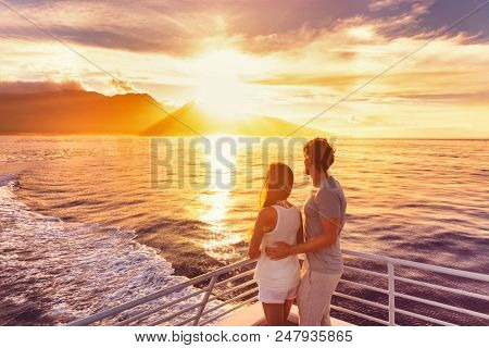 poster of Travel cruise ship couple on sunset cruise in Hawaii holiday. Two tourists lovers on honeymoon trave