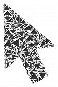 Mouse Cursor Mosaic Of Triangle Elements In Variable Sizes And Shapes. Vector Triangles Are United I poster