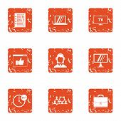 Scientific Figure Icons Set. Grunge Set Of 9 Scientific Figure Vector Icons For Web Isolated On Whit poster