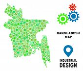 Gear Bangladesh Map Composition Of Small Cogs. Abstract Territorial Plan In Green Color Tones. Vecto poster