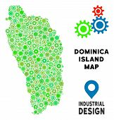 Постер, плакат: Gear Dominica Island Map Collage Of Small Cogs Abstract Territorial Scheme In Green Color Hues Vec