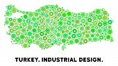 Gear Turkey Map Collage Of Small Wheels. Abstract Territorial Plan In Green Color Tinges. Vector Tur poster