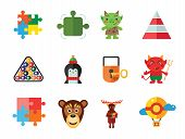 Gamification Icon Set. Circle Puzzle Moose Monkey Face Penguin Padlock And Key Puzzle Element Stacke poster