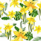 Seamless Flower Garder Liliya Pattern. Botany Flora Decoration. Vector Drawing. poster