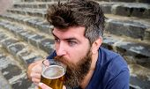Hipster On Excited Face Drinking Beer Outdoor. Friday Relax Concept. Man With Beard And Mustache Hol poster