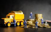 Miniature Security Guard Officers Standing And Protection In Front Of Dumper Truck Loading The Golde poster