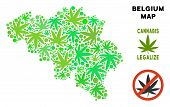 Royalty Free Cannabis Belgium Map Collage Of Weed Leaves. Template For Narcotic Addiction Campaign A poster