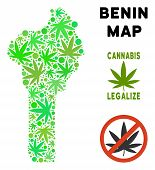 Royalty Free Cannabis Benin Map Composition Of Weed Leaves. Concept For Narcotic Addiction Campaign  poster