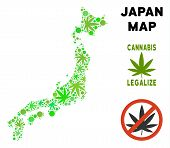 Royalty Free Cannabis Japan Map Composition Of Weed Leaves. Concept For Narcotic Addiction Campaign  poster