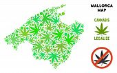 Royalty Free Cannabis Spain Mallorca Island Map Mosaic Of Weed Leaves. Concept For Narcotic Addictio poster