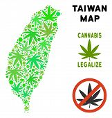 Royalty Free Cannabis Taiwan Island Map Collage Of Weed Leaves. Template For Narcotic Addiction Camp poster