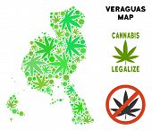 Royalty Free Cannabis Veraguas Province Map Composition Of Weed Leaves. Template For Narcotic Addict poster