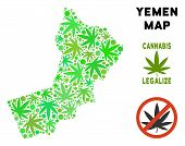 Royalty Free Cannabis Yemen Map Collage Of Weed Leaves. Template For Narcotic Addiction Campaign Aga poster