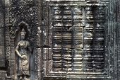 Ancient Stone Bas-relief Of Banteay Kdei Temple, Angkor Wat, Cambodia. Ancient Temple Bas-relief Wit poster