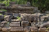 Ancient Stone Ruin Of Hinduist Temple, Angkor Wat, Cambodia. Ancient Temple Decor Stones In Jungle.  poster