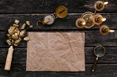 Blank Paper Page With Copy Space For Treasure Map, Compass, Magnifier Loupe And Shovel Full Of Gold  poster