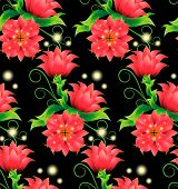 Seamless Pattern With Decorative Magical Red Flowers, Bright, Green Leaves, Curls And Sprouts On A B poster