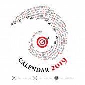 2019 Calendar Template.spiral Calendar.calendar 2019 Set Of 12 Months.vector Design Stationery Templ poster
