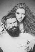 Beauty Fashion Model Couple. Fashion Look. Portrait Closeup Couple Of Long-haired Young Beautiful Wo poster