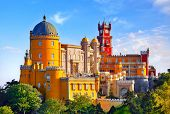 Palace of Pena in Sintra. Lisbon, Portugal. Famous landmark. Summer morning landscape with blue sky. poster