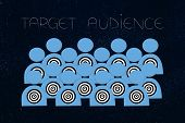 Reaching The Right Customer Conceptual Illustration: Target Audience With Targets On Them And Captio poster